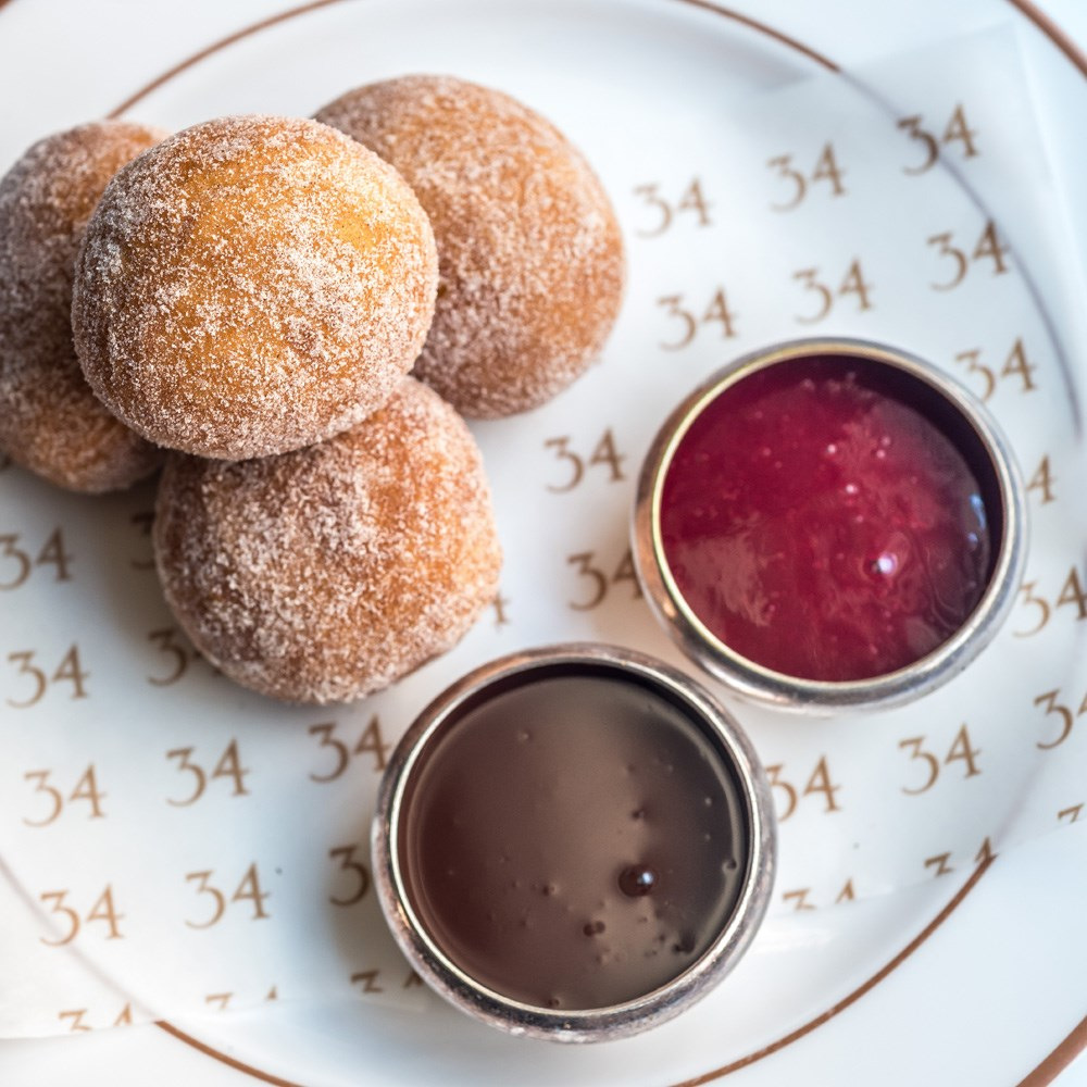 34 mayfair cinnamon doughnuts chocolate sauce raspberry sauce